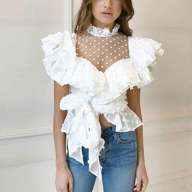 2018 Lace New Style Women White Blouse Shirt Fashion Perspective Dots Pattern Ruffled Sexy Shirt Top Long Sleeve Women Blouses
