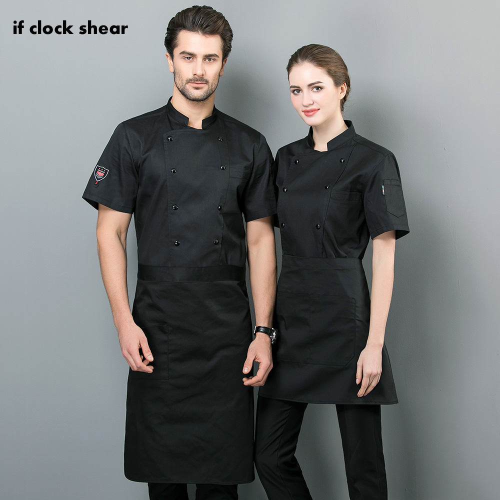 Unisex Short Sleeved Cooker Work Shirts Restaurant Kitchen Chef Jackets Black And White Chef Clothes Restaurant Uniforms Shirts