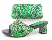 SL-881 green 2015 lastest design italian matching shoes and bags/italian shoes and bag set with high quality material!