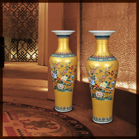 New Classical Modern Villa Hotel Jingdezhen Porcelain Vase Chinese Antique Colour Enamels Ceramic Decorative Large Floor Vases
