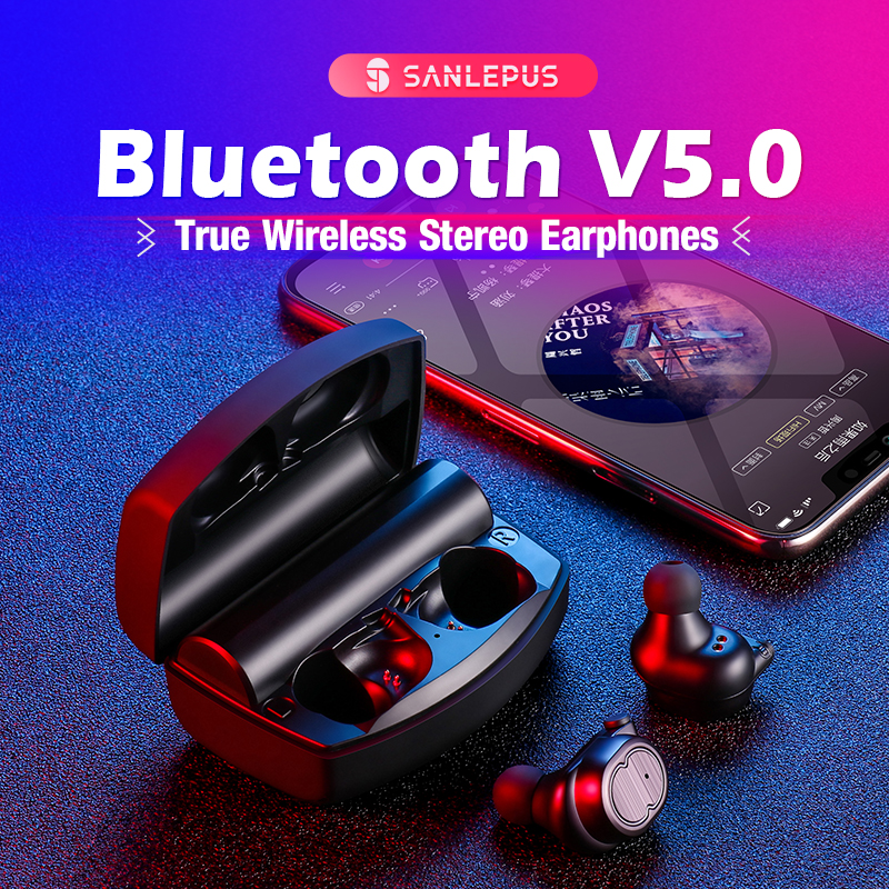 SANLEPUS écouteurs bluetooth écouteurs sans fil véritables TWS 5.0 écouteurs de sport Stéréo casque extra bass Antibruit Pour Téléphones - 6
