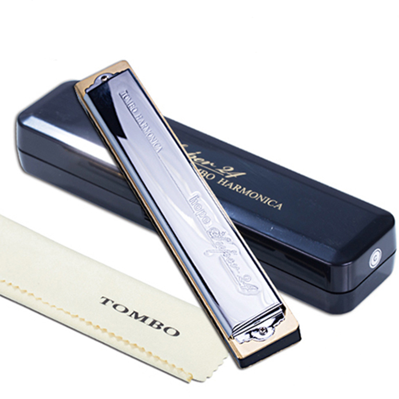 Tombo Harmonica  24 Holes Tremolo Harmonica  Blues Harp Mouth Organ 6624S ABS Comb Key C Musical Instruments Tombo Hope Super 24 easttop brass chromatic harmonica 16 hole brass abs comb musical instruments mouth organ chromatic slide harmonica good sound