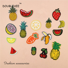 DOUBLEHEE Big Small Fruit Colorful Patch Embroidered Iron On Patches For Clothing  Motif Embroidery DIY T-shirt Bags