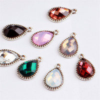 Wholesale 50PCs 13*20MM Vintage Silver Tone Alloy Pendant Charms Rhinestone Crystal Paved Waterdrop Floating Charm Craft