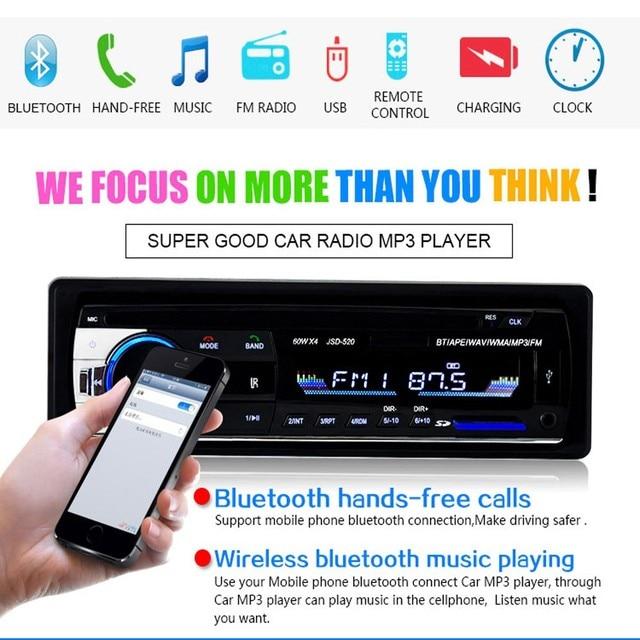 AMPrime Bluetooth Autoradio Car Stereo Radio FM Aux Input Receiver SD USB JSD-520 12V In-dash 1 din Car MP3 Multimedia Player 3