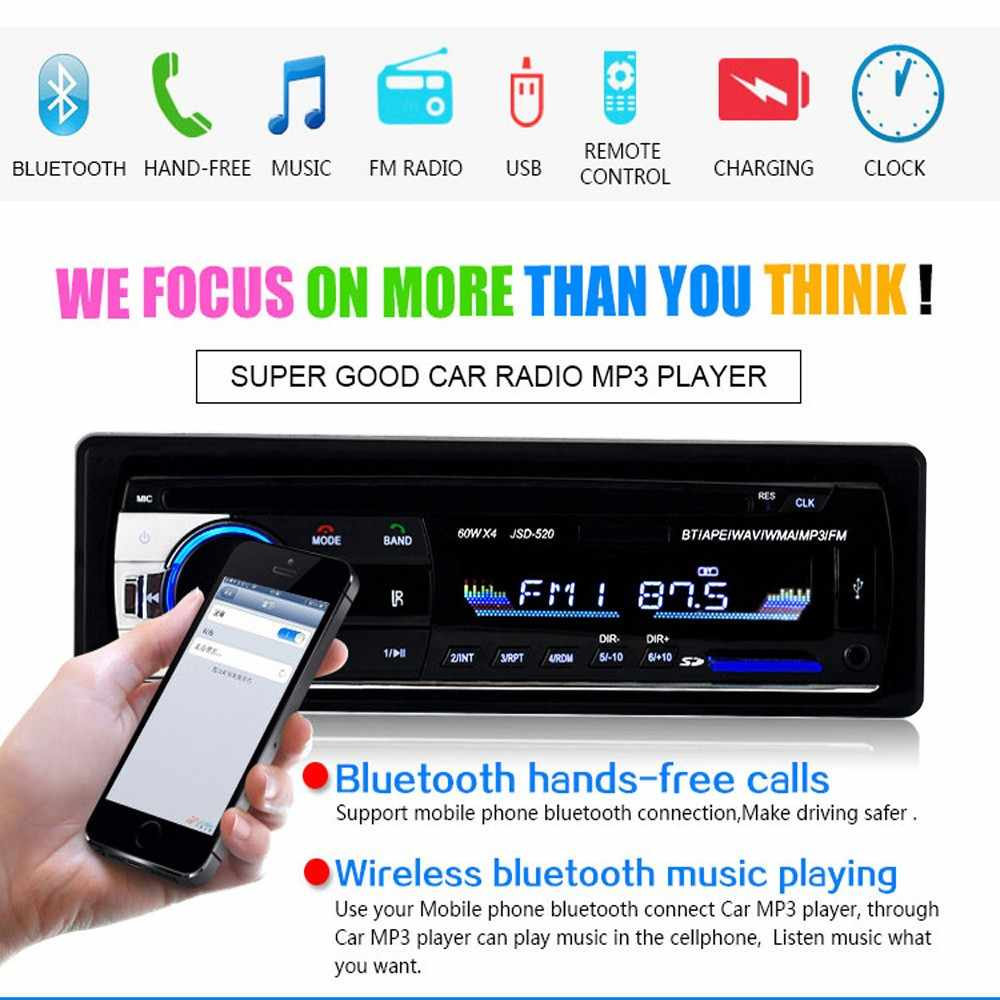 Amprime bluetooth autoradioカーステレオラジオfm aux入力レシーバsd usb JSD-520 12 12vダッシュ1 din車MP3マルチメディアプレーヤー