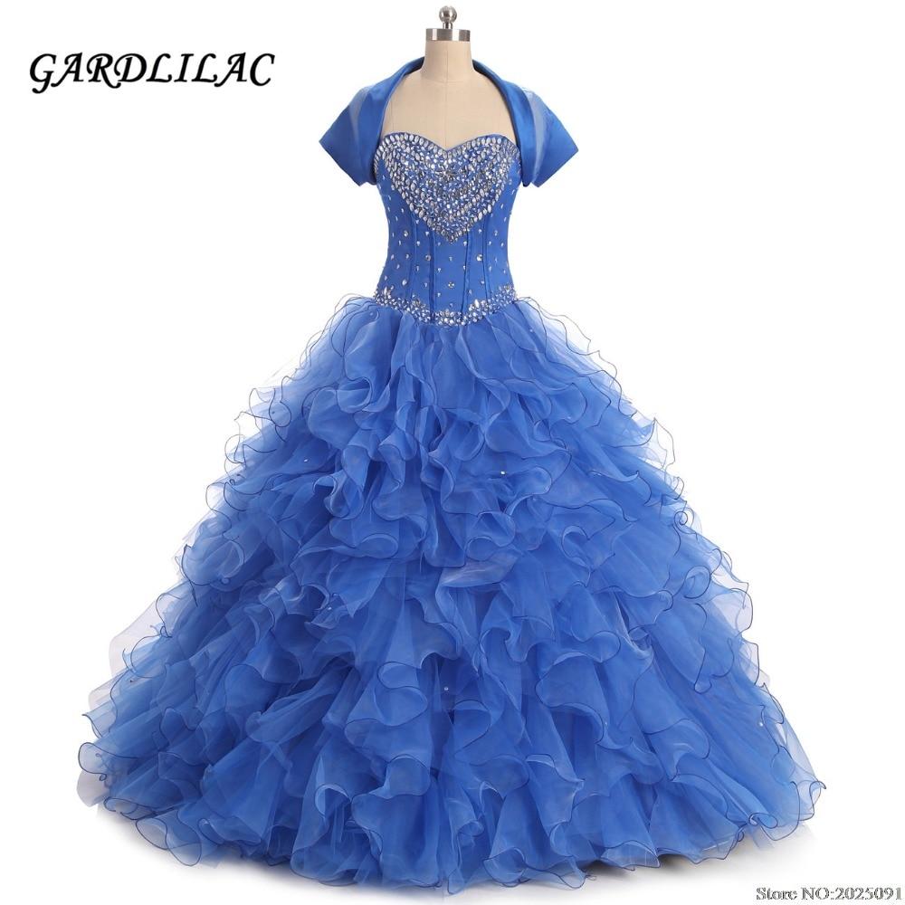 Sweetheart Royal Blue Ball Gown Quinceanera Klänningar 2019 Ruffles Organza With Beads Söta 16 Klänningar Debutante Långa Prom Klänningar