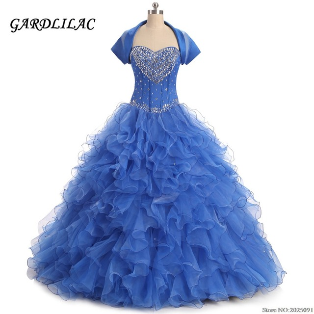 bc2e0cd1eb Sweetheart Royal Blue Ball Gown Quinceanera Dresses 2019 Ruffles Organza  with Beads Sweet 16 dresses Debutante Long Prom Dresses