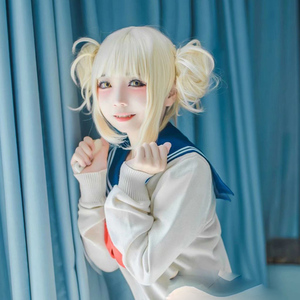 Image 4 - Anime My Boku no Hero Academia Akademia Himiko Toga Short Light Blonde Ponytails Heat Resistant Cosplay Costume Wig+Cap
