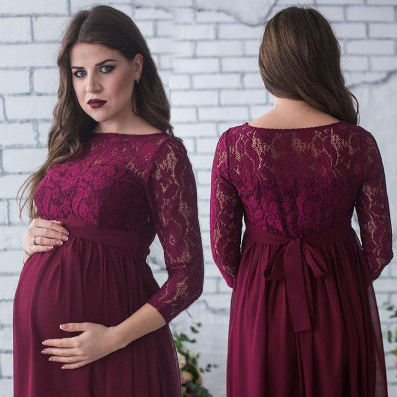 New Casual Maternity Women Dress Pleated Maxi Pregnancy Baby Shower Long Sleeve O-Neck W ...