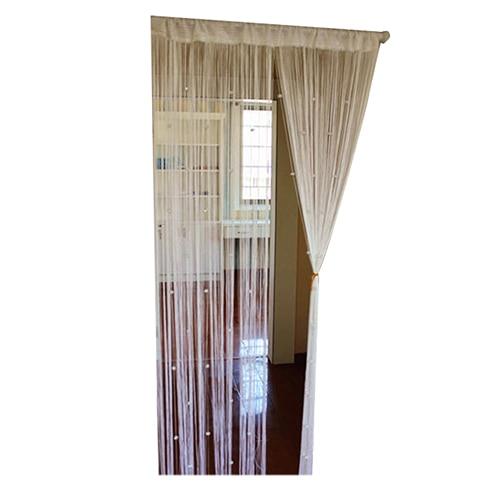 New Beaded String Curtain Door Room Divider Tassel Screen Panel(White)