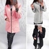 Phụ nữ Autumn Winter Quần Áo Giản Dị Ấm Lông Cừu Áo Khoác Dài Slant Zipper Có Cổ Nữ Áo Jacket