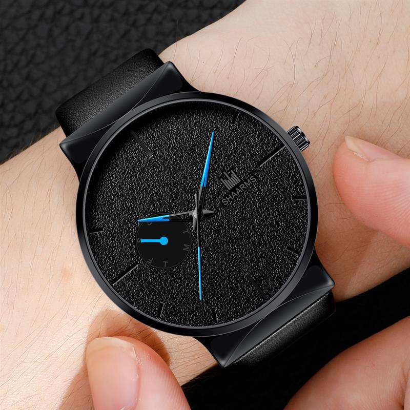 Fashion Men Business Watch Leather Band Stainless Steel Quartz Wristwatch Luxury Brand Casual Simple Watches Black