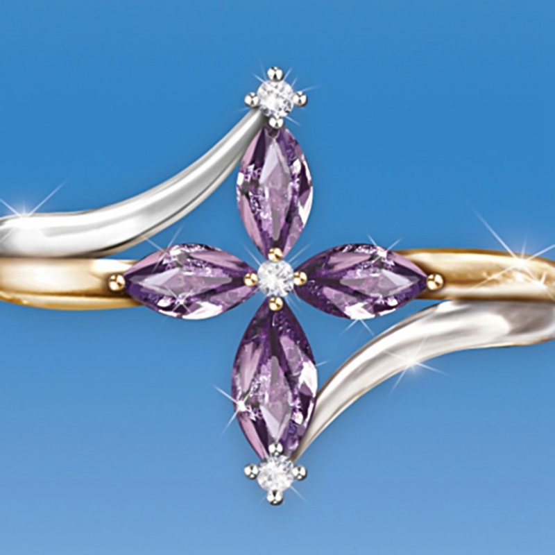 Faith Conquers All Amethyst Cross Ring 4