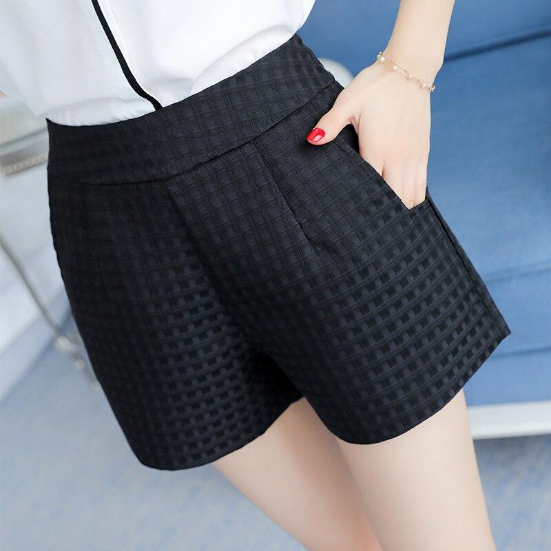 2018 summer new ladies dark plaid loose   shorts   wild casual Korean wide leg women   shorts   B349