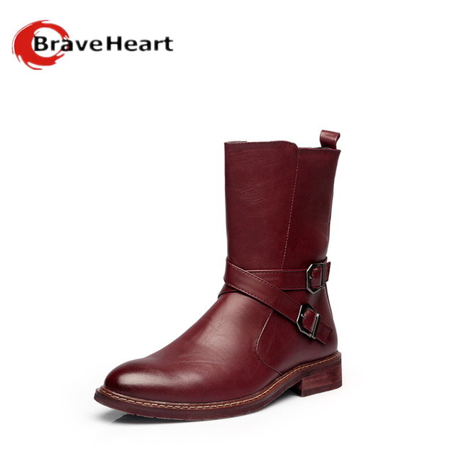 2016 new men 38-44 plus size  boots outdoor pure color Genuine Leather boots British style male hot sale casual boots