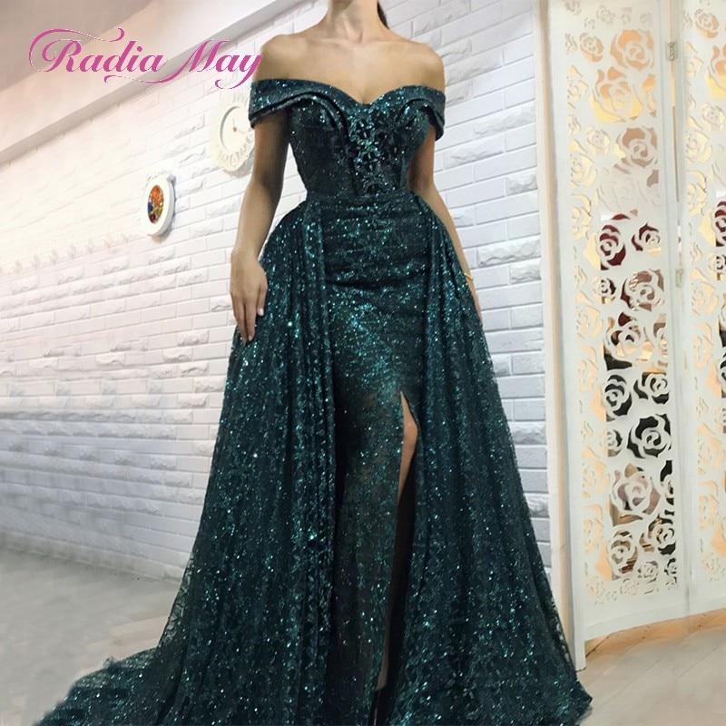 Prom Dress With Detachable Train: Glitter Emerald Green Mermaid Dubai Evening Dress
