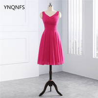 2018 A Line Chiffon Short Bridesmaid Dresses Fuchsia Hot Pink Color Real Pictures
