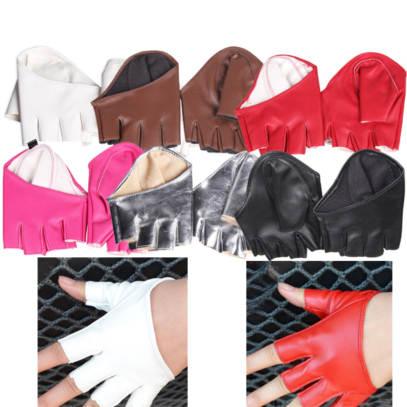 Various Cool Fashion Woman Lady Trendy Tight Half Palm Finger Gloves Imitation Leather Multicolor