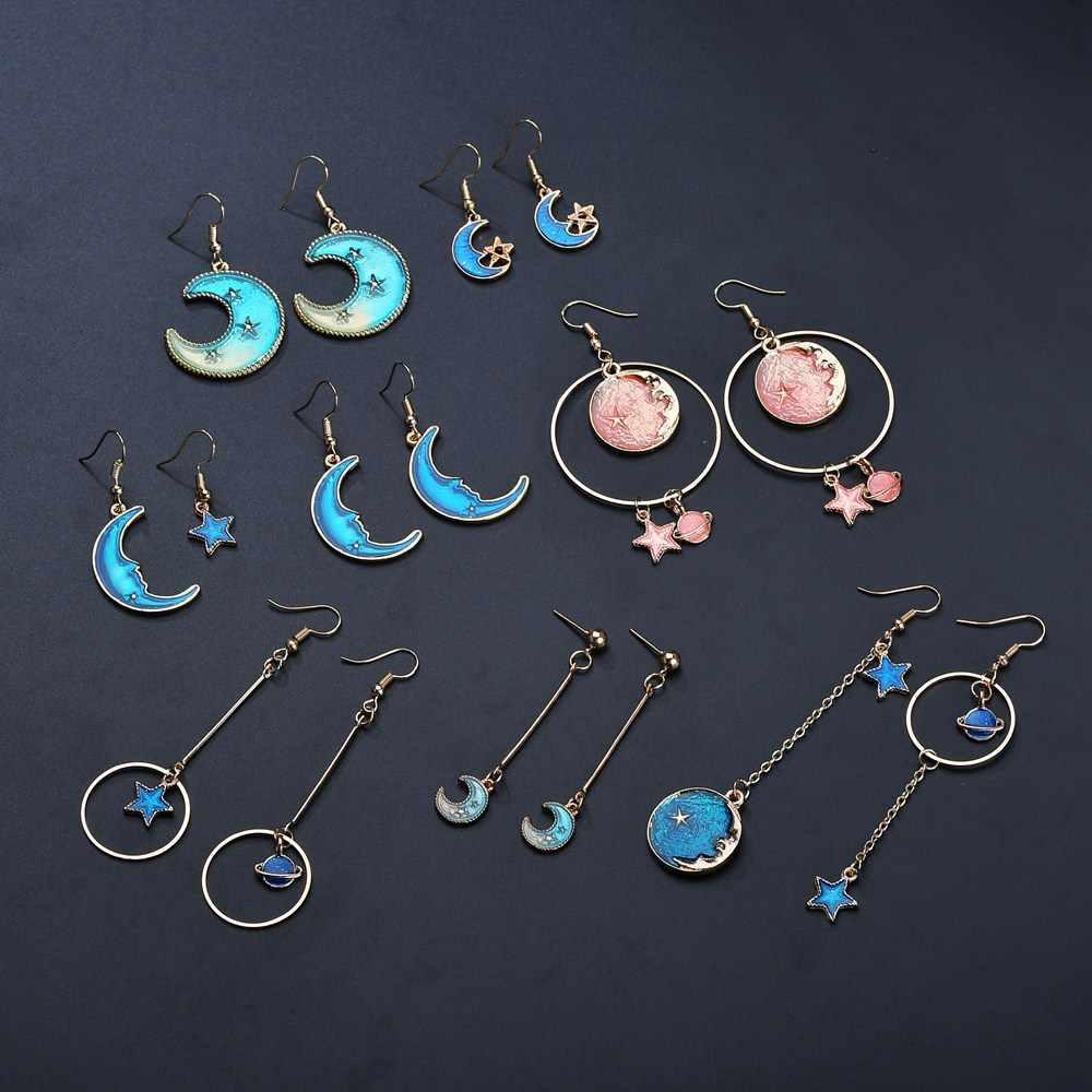 ZHIMO новые модные креативные романтические Нерегулярные геометрические Звезды Луна и Вселенная серьги-подвески из сплава ювелирные изделия вечерние подарок для девочек