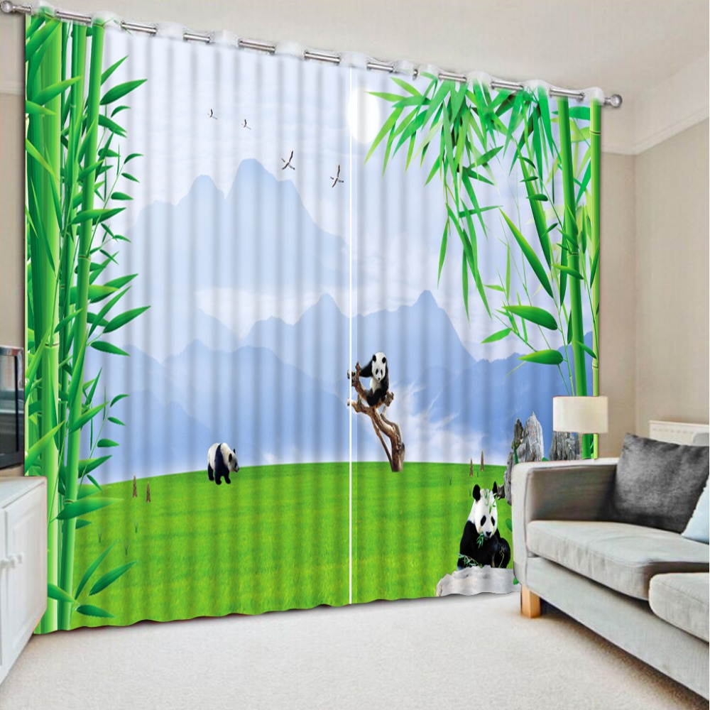 custom any size top classic 3d european style green bamboo country bedroom curtains window curtain living - Green Bedroom Curtains