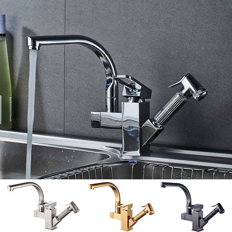 Bathroom Basin Faucet Kitchen Faucet Double Use Chrome Brass Pull Out Sink Mixer Tap Unique Design Hot Cold Water Tap Torneiras basin faucets chrome brass bathroom faucet single handle pull out basin faucet sink cold hot water mixer tap torneiras