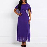Vintage Elegant Party Purple Chic Summer African Women Long Dresses Plus Size High Waist Plain Mesh Falbala Female Maxi Dress