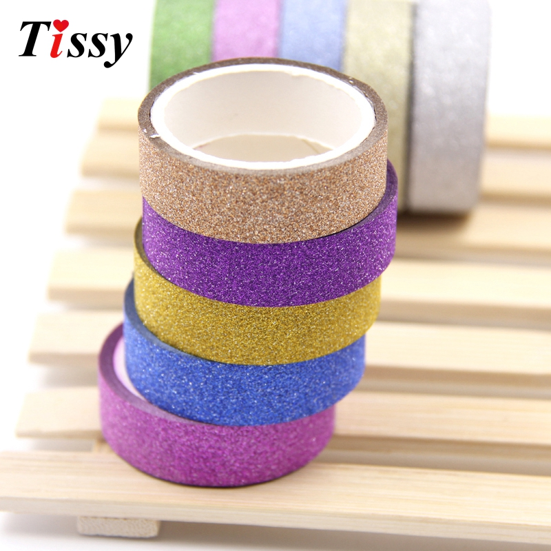 5PCS/Lot 4M Mixed Glitter Matte Tapes Scrapbooking Paper Tape For DIY Crafts wedding Decoration/Kids Gift Wrapping/Diary Sticker