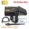 Original v8 golden+powervu IPTV box v8 golden dvb t2/s2/c upgraded openbox V8 Pro Combo Satellite Receiver set top box PK V7 BOX