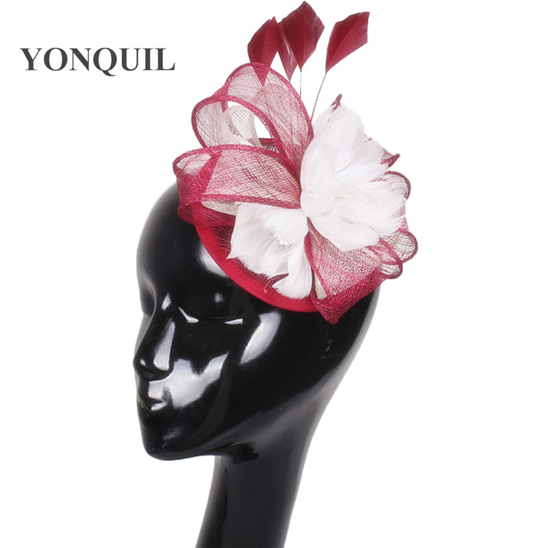 17 Colors availsble elegant ladies banquet hats fascinators headwear fancy feather pillbox hats for formal occasion derby races