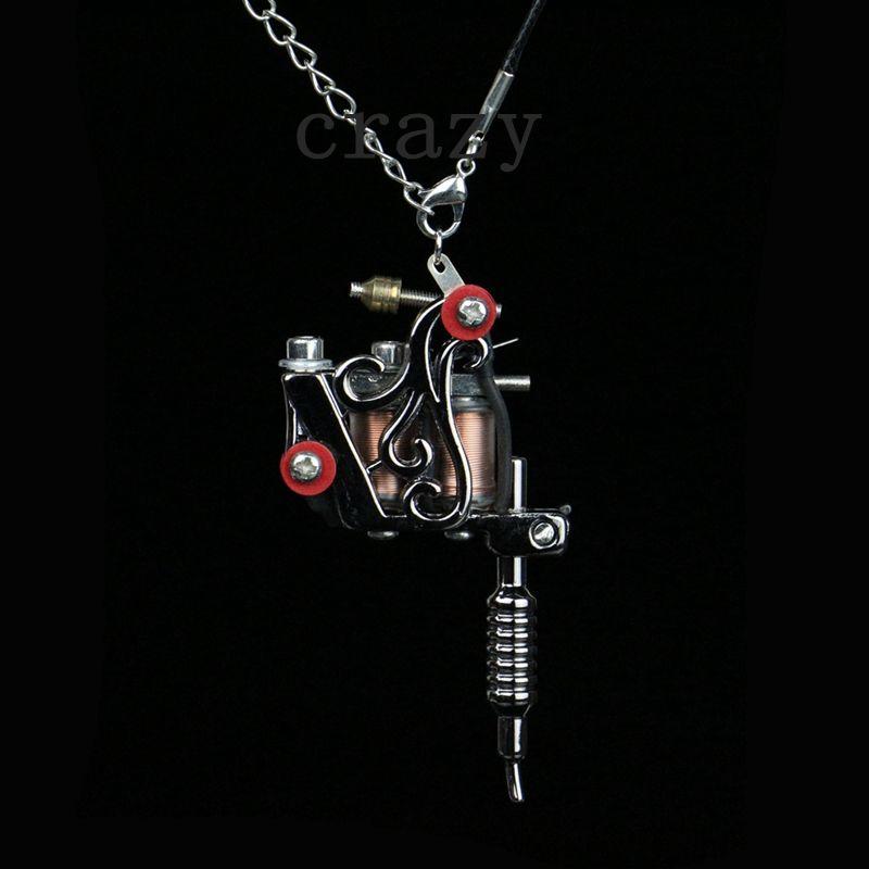 1PC modni mini tattoo stroj nakit obesek črno cool tattoo stroj ogrlica z verige in prstan TM-922B brezplačna dostava  t