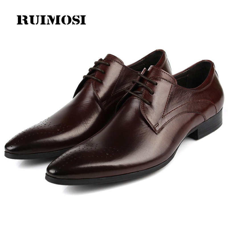 RUIMOSI Breathable Man Derby Formal Dress Party Shoes Genuine Leather Wedding Oxfords Pointed Toe Laced Men's Bridal Flats SF43