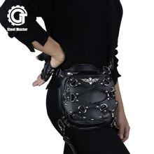 2017 Steels Master Women Black Vintage Mini Messenger Bag Rivet Travel Shoulder Bags Mobile Phone Fanny Pack Punk Waist