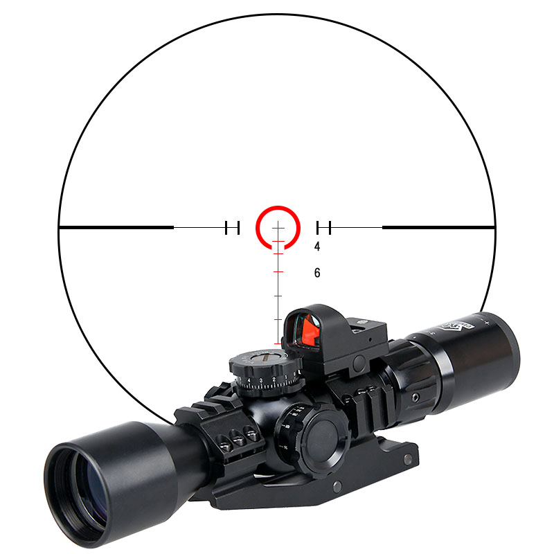 Canis Latrans Rifle Scope Tactical 3-9x40FIRF Rifle Scope + 1X 2MOA Mini Red Dot Sight+Mount For Hunting Scope Spotting OS1-0335