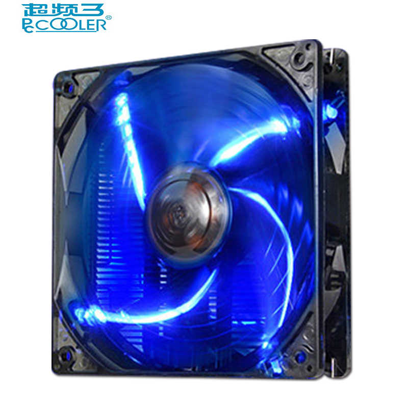 Pccooler 12 سنتيمتر 4pin pwm مروحة التبريد مروحة led هادئة 120 ملليمتر led أحمر أزرق أبيض ضوء هيكل الكمبيوتر البكم مروحة