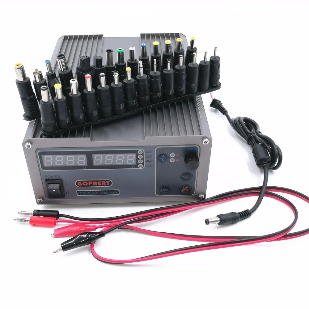 Haute Puissance Numérique Réglable DC Alimentation CPS-6017 1000 w 60 v 17A Laboratoire alimentation avec 28 pcs Ordinateur Portable puissance Adaptateur
