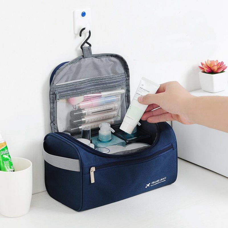 Casual Men Hanging Cosmetic Bag Business Makeup Case Women Travel Make Up Zipper Organizer Storage Pouch Toiletry Wash Bath Kit
