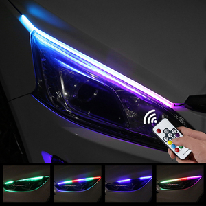 2X Sequential Flowing RGB Daytime Running Light DRL Multi Color LED Strip Turn Signal Lights For Headlight