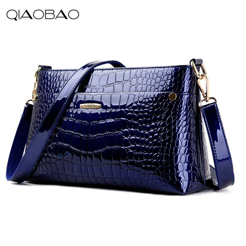 LIRENNIAO Luxury Women Bag Patent Leather Handbag Alligator bag Women Fashion Chain Bag New Crossbody Bag Handbag Party Clutch 2017 women bag cowhide genuine leather fashion folding handbag chain shoulder bag crossbody bag handbag party clutch long wallet