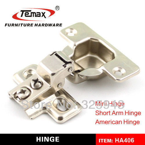 2pcs American Short Arm Two Way Slide On 105 Degree 45mm Cup Cabinet Cupboard Hinges Furniture