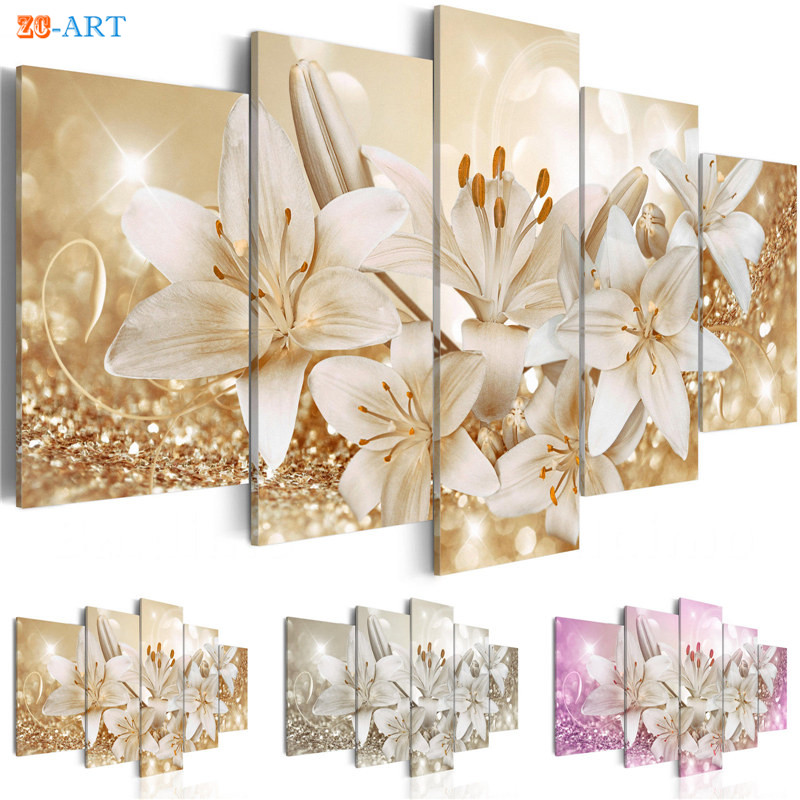 Wealth and Luxurious Golden Lilies Flowers Prints Canvas Portray 5 Panel Pink and Sliver Blossom Poster Fashionable Wall Artwork Dwelling Decor Portray & Calligraphy, Low-cost Portray & Calligraphy, Wealth...