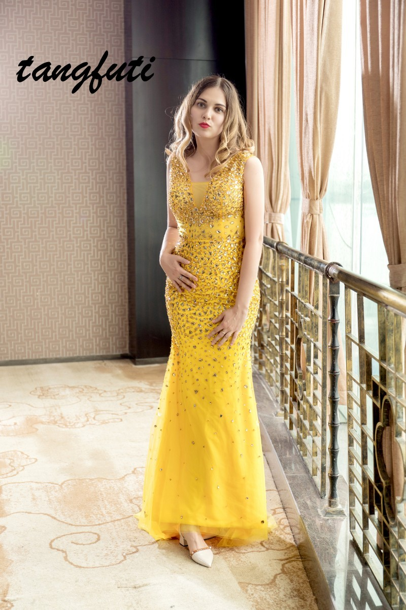 2ead1cc963334 Luxury Long Prom Dresses 2018 With Crystals Beaded Mermaid Sexy Backless  Evening Party Dress Tulle ...