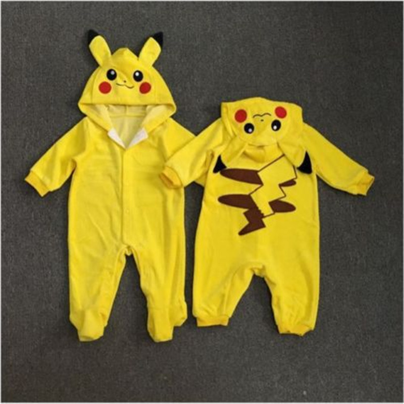 Baby clothes Pikachu 3D ears Hooded Toddler Boy Outfit Jumpsuit Boy Cosplay Costume Cartoon Patchwork Jumpsuit Clothes Outfit in Rompers from Mother Kids