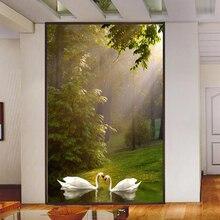 цена на photo papel de parede 3D wall papers home decor restaurant entrance hallway wallpaper Swan Lake Scenic large mural wallpaper