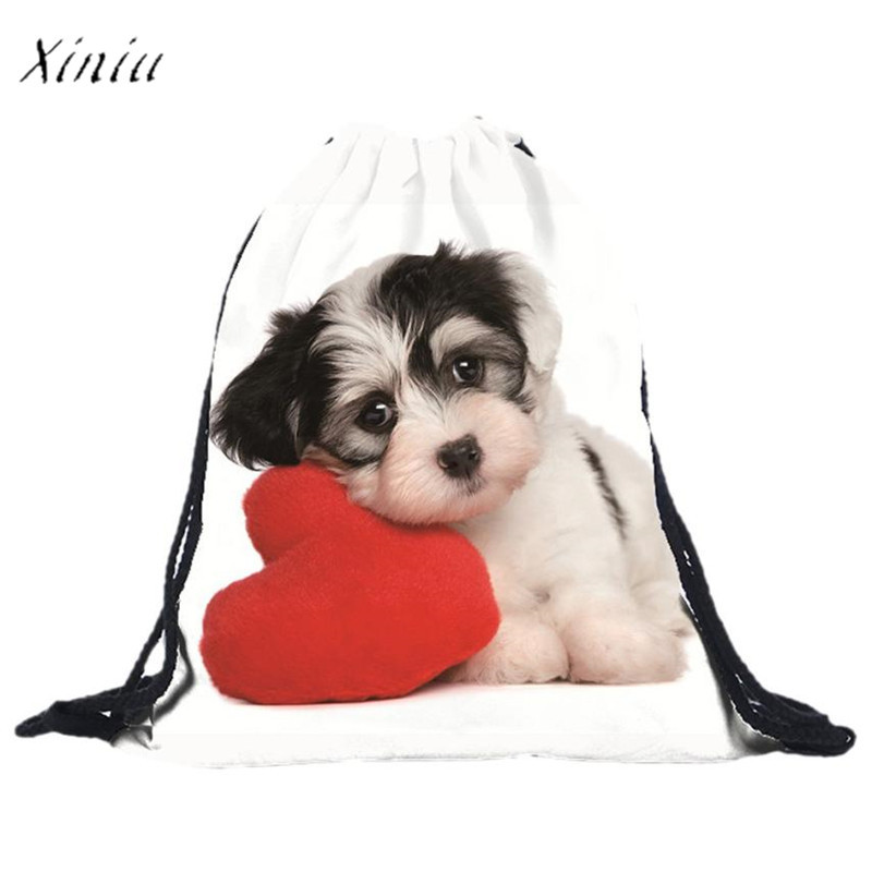 School Boys Girls Dog Backpacks Unisex 3D Printing Bags Backpack Shopping Bag Travel Bag Softback Women mochila Drawstring Bag