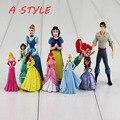 10 pçs/lote Brinquedos Princesa Ariel branca de Neve Bella Jasmine Cinderela Rapunzel Figura PVC Boneca para as meninas Frete Grátis