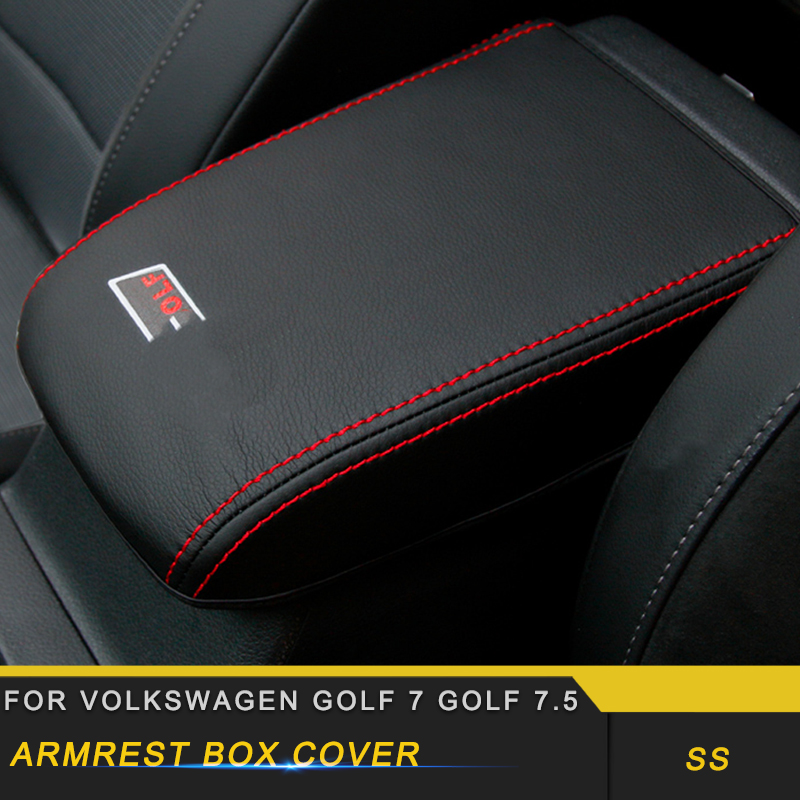 For Volkswagen Golf 7 Golf 7.5 Car Care Armrest Box Protector Cover Leather Mat Pad Cushion Interior Accessories
