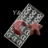 Food Grade Moon And Star Shaped Mould Baking Tool Clear Polycarbonate Chocolate Mold DIY Chocolate PC Tool