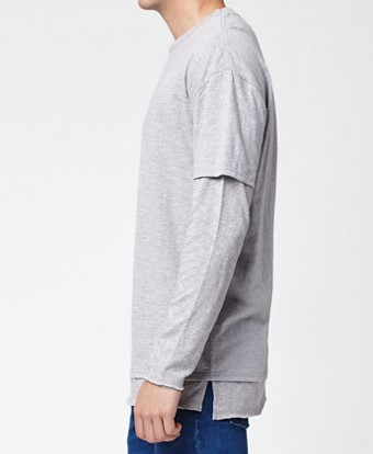 US $2 99 |Men's Skate Urban Streetwear Hip Hop Oversized 2 fer T Shirt USA  Size S,M,L ( Very Large and Long)-in T-Shirts from Men's Clothing on
