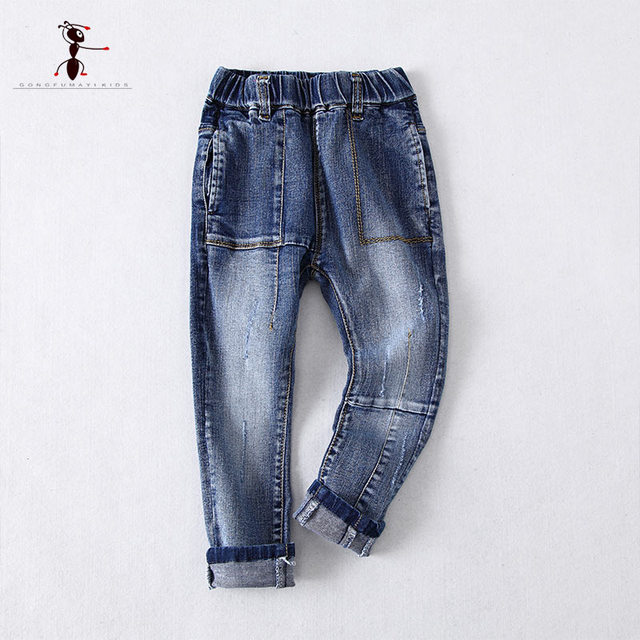 KungFu Ant Casual Boy Elastic Waist Denim Pockets Pant Children Jeans Home Trouser Kid 712733